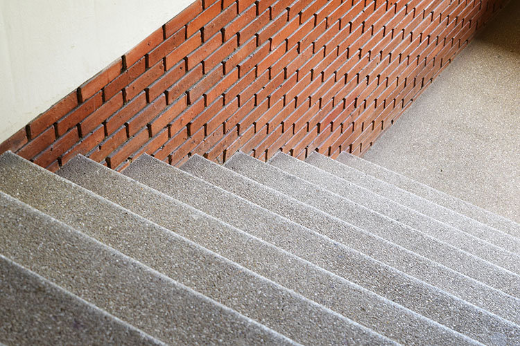 stairway with exposed aggregate