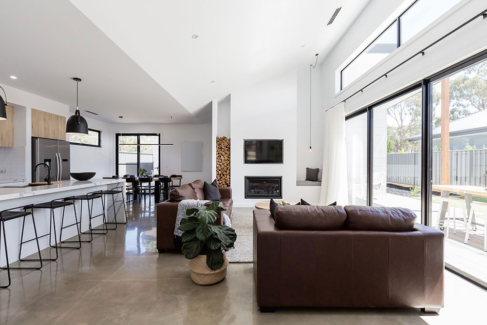 polished concrete floor of modern home