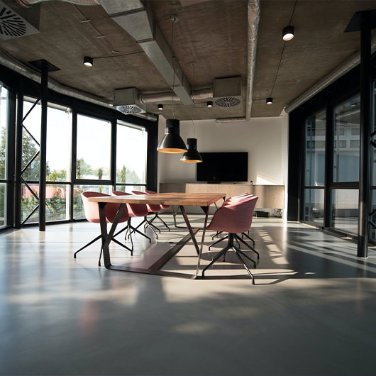 office with polished concrete floor