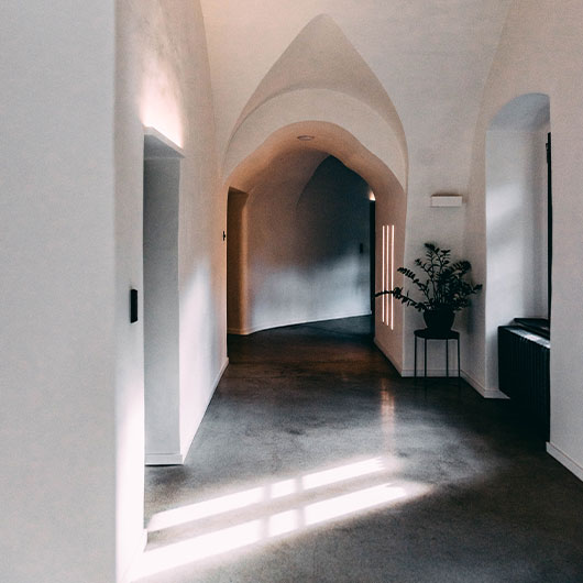 home with burnished and polished concrete floor