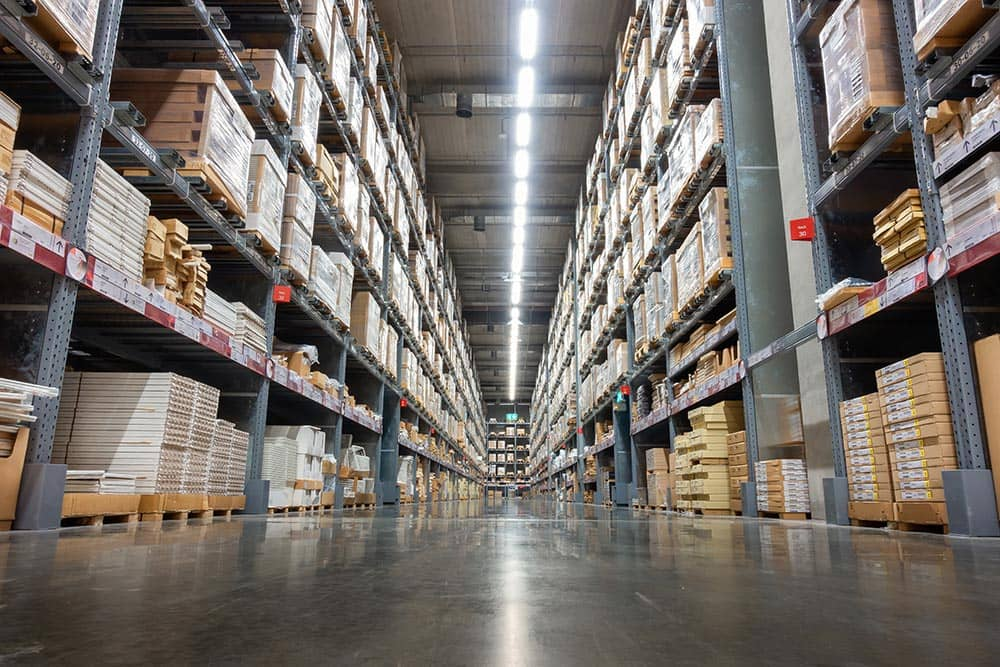 commercial warehouse with polished concrete floor